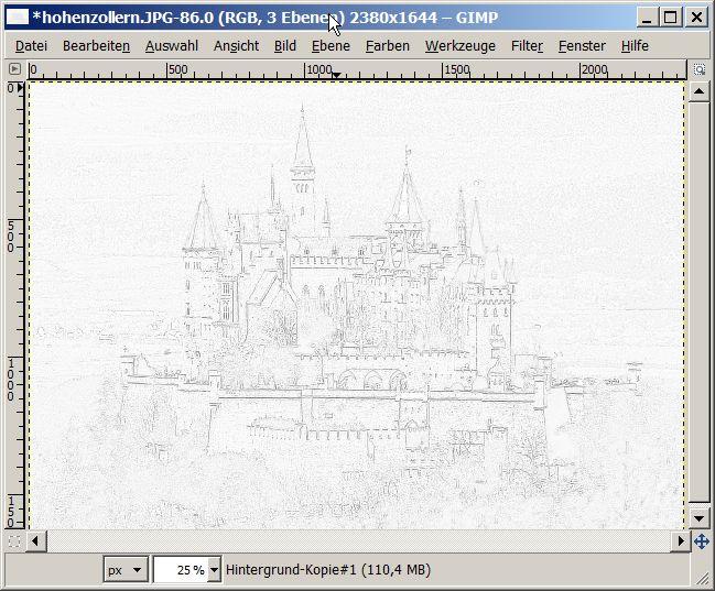 Fenster bleistiftzeichnung  Strichzeichnung mit GIMP